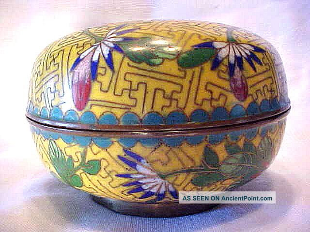 Antique Yellow Enamel Flower & Leaf Cloisonne Brass Trinket Box China Boxes photo