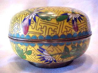 Antique Yellow Enamel Flower & Leaf Cloisonne Brass Trinket Box China photo