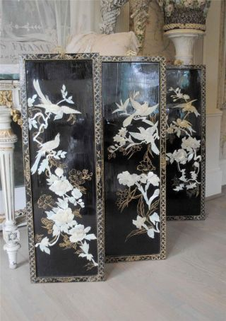 Set 3 ~ C1900 ' S Chinese Lacquer Panels W.  Ornate Mother Of Pearl Birds & Flowers photo