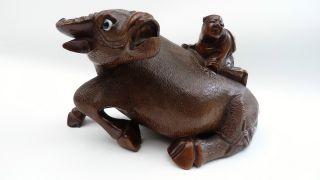 Chinese Oriental Ox Bull Buffalo Water Monk Spirit Oriental Rosewood Ornament photo