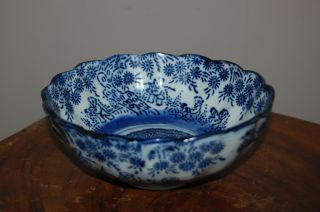 Arita Imari Blue And White Porcelain Bowl Dish - 19thc photo