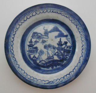 Antique Chinese Import Blue \u0026 White Rain \u0026 Cloud Canton Porcelain Small Plate Nr photo & Asian Antiques - China - Plates | Antiques Browser