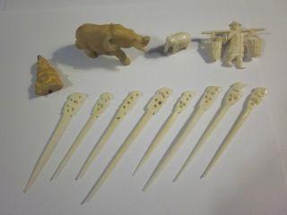 Antique Vtg Carved Ox Bone Set Lot Buddha Pendant Toggle Elephant Pair Pin &more photo