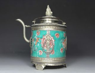 Chinese Old Porcelain Wonderful Handwork Painting Flower Tea Pot photo