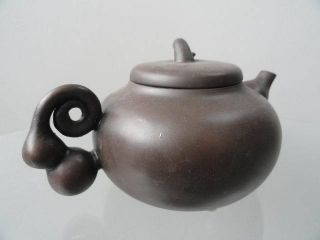 Chinese Yixing Zisha Teapot Round Carven Auspicious Cloud Exquisite 4 photo