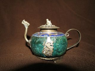Antique Jade And Cloisonne Miniature Tea Pot photo