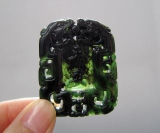 Chinese Hetian Black Green Jade Hollow Out Carved Dragon Pendant Nr photo