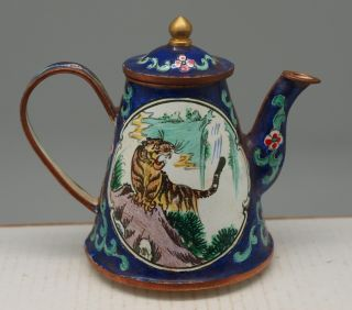 Chinese Blue Copper Teapot - Hand Painted & Enamelled - Tigers - Oriental photo