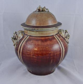 Antique Chinese 18th Or 19th C Oxblood Vase Foo Dog Handles - Mythology Ndragon photo