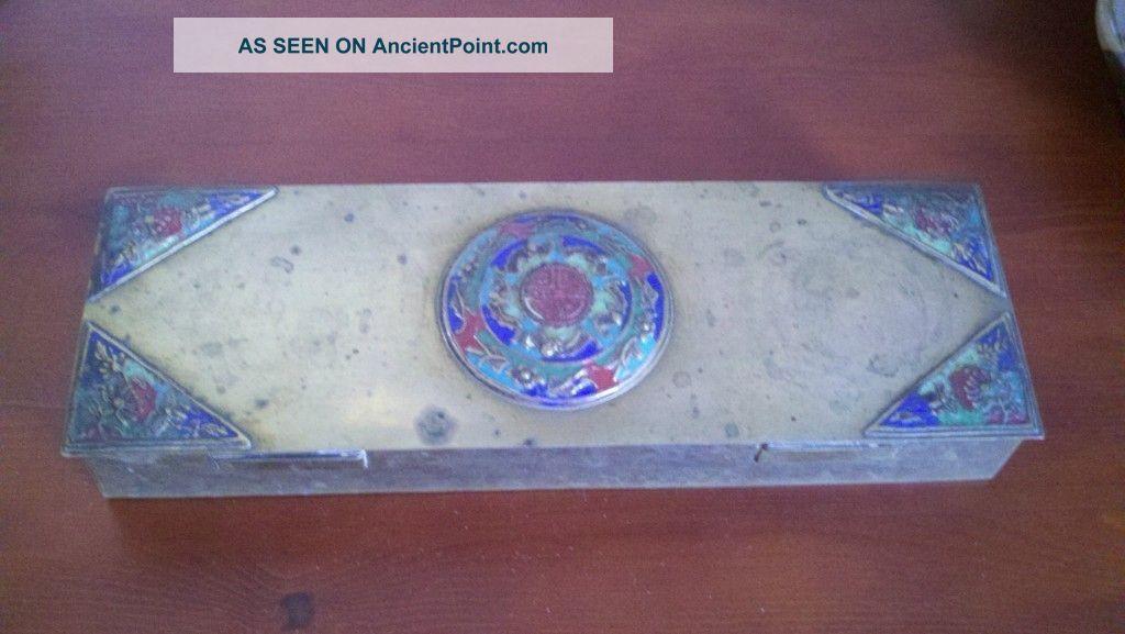 Antique Chinese Cloisonne Enamel Brass Four Compartment Rare Shape Box 12
