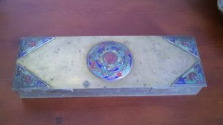 Antique Chinese Cloisonne Enamel Brass Four Compartment Rare Shape Box 12