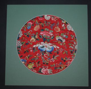 Antique Chinese Red Silk Embroidered Roundel Flowers Fruits Embroidery Qing 19th photo