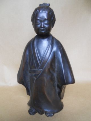 Vintage / Antique Estate Bronze Look Cast Metal Oriental Man Figurine 10 - 3/4