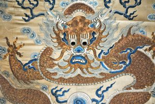 Antique Chinese Imperial Yellow Silk Embroidered Panel Dragon Gold Threads photo