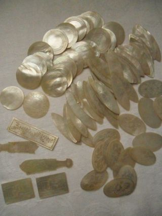 Over 80 Antique Engraved Mother Of Pearl Gaming Counters - Various Shapes photo