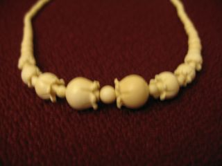 Rare Found Natural Ox Bone Necklace With Carved Beads 18