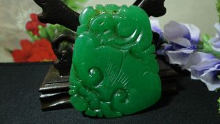 Prefect Chinese Big Antique Green Jade Pendant/beautiful Lucky Fish photo