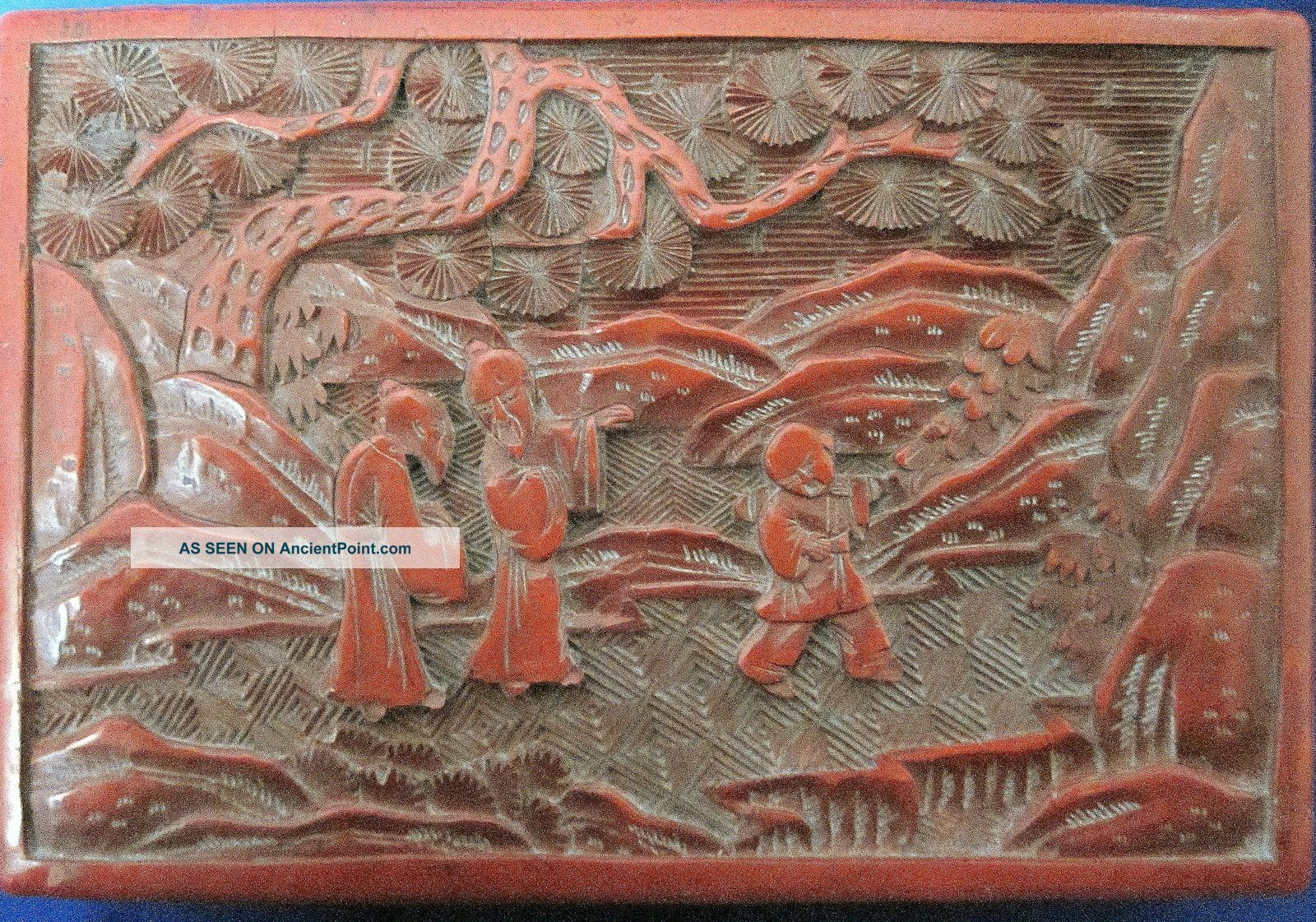 Antique Cinnabar Lacquer Box 19th.  C.  Chinese Boxes photo