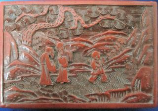 Antique Cinnabar Lacquer Box 19th.  C.  Chinese photo