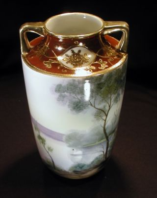 Noritake Nippon Vase With Swan Scene And Gold Trim photo