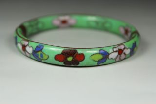 Chinese Handwork Painting Flower Old Cloisonne Bracelet photo