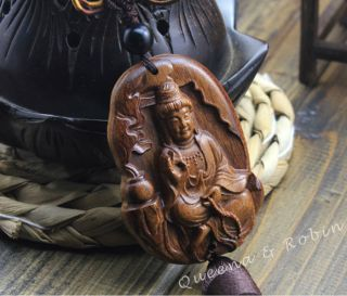 African Rosewood Carved Buddha Kwan - Yin Statue Amulet Car Decor Pendant Gyd photo