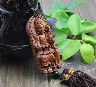 African Rosewood Carved Buddha Kwan - Yin Statue Amulet Car Decor Pendant Gye photo