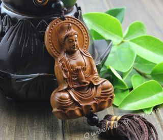 African Rosewood Carved Buddha Kwan - Yin Statue Amulet Car Decor Pendant Gyg photo