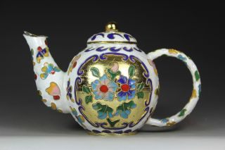 Asian Oriental Old Closionne Wonderful Handwork Flower Tea Pot photo