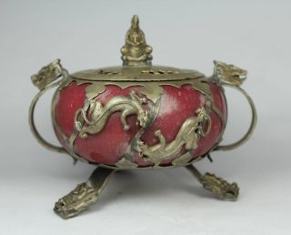 Chinese Handwork Toad Old Jade Incense Burner photo