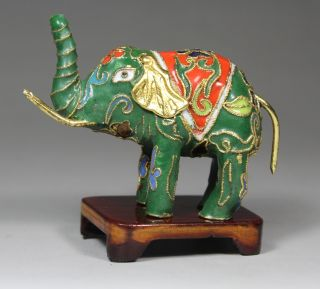 Chinese Old Closionne Handwork Elephant Statue Decoration + Stand ☆☆☆☆☆ photo