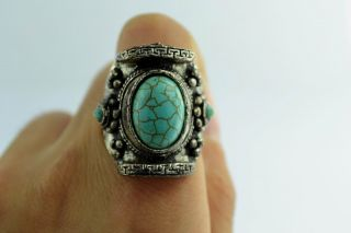 Asian Old Collectibles Decorated Wonderful Handwork Turquoise Ring Aaaaa photo