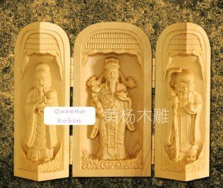 Chinese Wood Carved Boxwood Three Blessing Lucky Holy Amulet Netsuke Statue Box photo