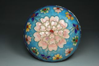 Chinese Handwork Painting Flower Old Cloisonne Jewel Box photo