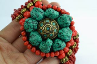 Asian Old Collectibles Decorated Wonderful Handwork Turquoise Bracelet Aaaaa photo
