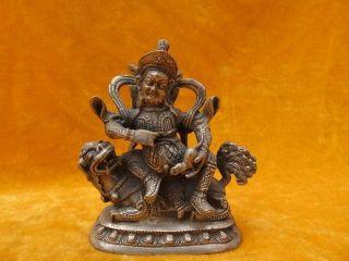 Chinese Bronze Statue Buddha Sitting On The Beast Legend Vivid Exquisite 14 photo
