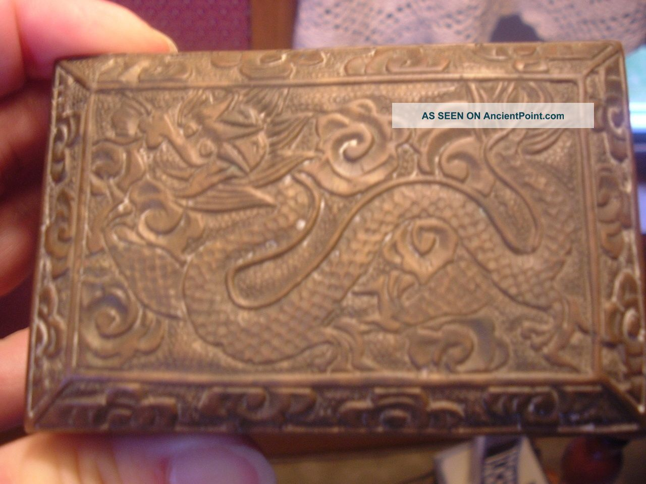 Heavily Carved Metal Brass Chinese Box W/ Wood Lining And Dragon Carving. Boxes photo