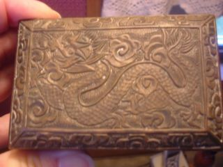 Heavily Carved Metal Brass Chinese Box W/ Wood Lining And Dragon Carving. photo