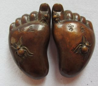 Chinese Bronze Statue - Feet (contentment Changle) Nr photo