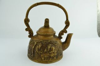 Asian Old Collectibles Decorated Handwork Copper Play Chess Tea Pot Aaaaa photo
