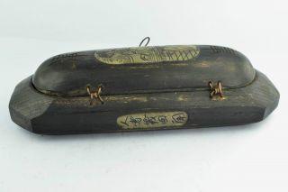 - China Old Hand Wooden Bone Carving Maid Wonderful Glasses Box photo