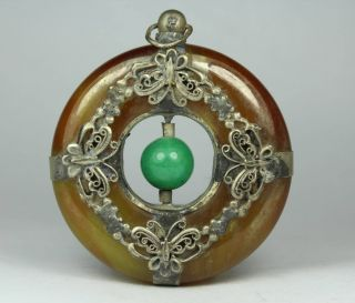 Chinese Handwork Butterfly Old Jade Pendant photo