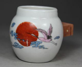 Chinese Large Old Porcelain Handwork Painting Crane/ Sun Bird Feeder Jar  photo
