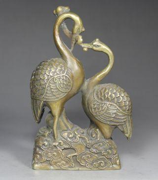 Chinese Handwork Crane Old Copper Statue photo