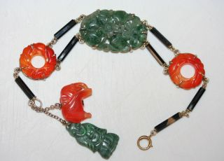 Antique Chinese Sterling Silver Carved Green Jade,  Carnelian And Onyx Bracelet photo