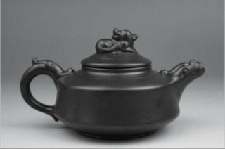China Yixing Black Enameled Pottery Teapot photo