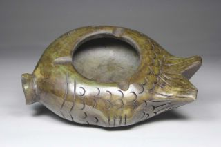Chinese Old Jade Wonderful Handwork Caving Fish Ashtray photo