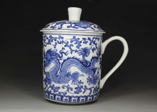Wonderful Chinese Old Blue & White Porcelain Handwork Painting Dragon Cup photo