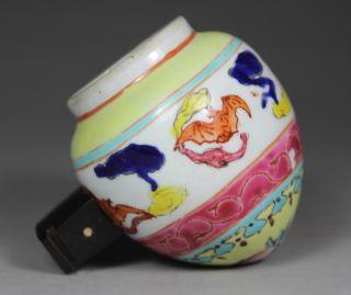 Chinese Old Porcelain Handwork Painting Bat Bird Feed Pot photo