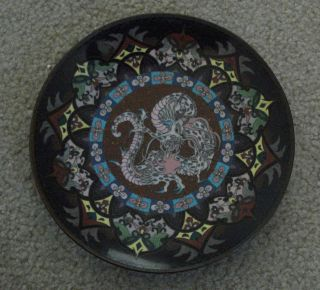 Fine Japanese Cloisonne Plate,  Meiji Period,  Dragon photo